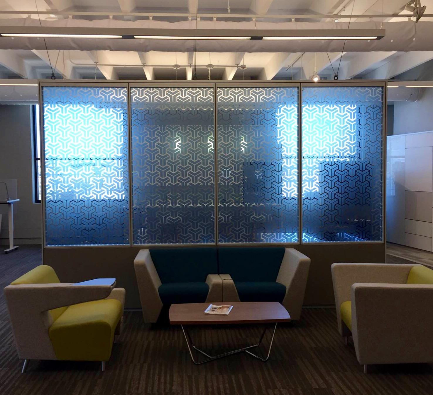 Custom Printed Decorative Glass Film Adds Attractive Privacy